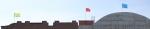 """Уличные флагштоки   на крыше  детского сада в микрорайоне """"Пригородный простор"""""""